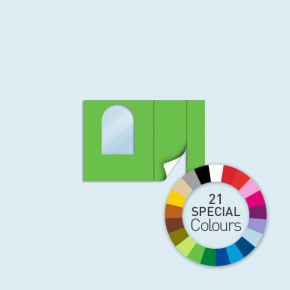 Wand mit 1 Tür rechts und 1 Rundfenster links Basic/Select/Eco 300 x 205 cm, in Sonderfarben, Seitenkanten mit Befestigungsschlaufen