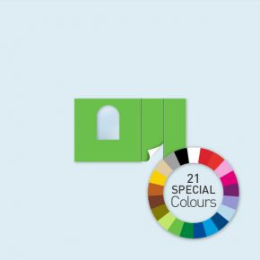 Wand m. Tür rechts und Rundfenster 400 x 220 cm, in 21 Sonderfarben erhältlich