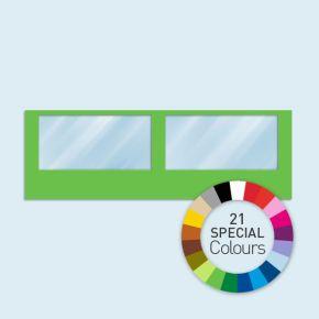 Wand mit 2 Panoramafenstern Basic/Select 600 x 205 cm, in Sonderfarben, Seitenkanten mit Befestigungsschlaufen