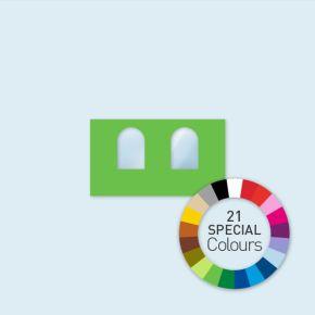 Wand mit 2 Rundfenstern Select 400 x 220 cm, in Sonderfarben, Seitenkanten mit Befestigungsschlaufen