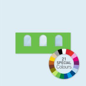 Wand mit 3 Rundfenstern Select 600 x 220 cm, in Sonderfarben, Seitenkanten mit Befestigungsschlaufen