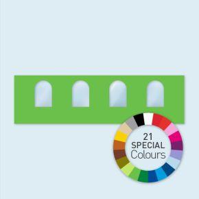 Wand mit 4 Rundfenstern Select 800 x 220 cm, in Sonderfarben, Seitenkanten mit Befestigungsschlaufen