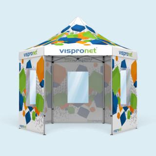 Faltzelt Select Hexagon 4 m, 5 Wände mit Fenster, mit Druck