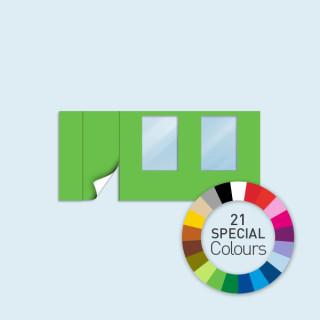 Wand mit Tür links und 2 Fenstern 450 x 205 cm, in 21 Sonderfarben erhältlich