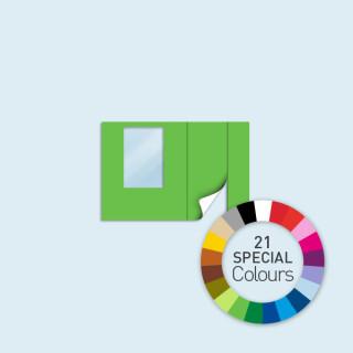 Wand m. Tür rechts und Fenster 300 x 205 cm, in 21 Sonderfarben erhältlich