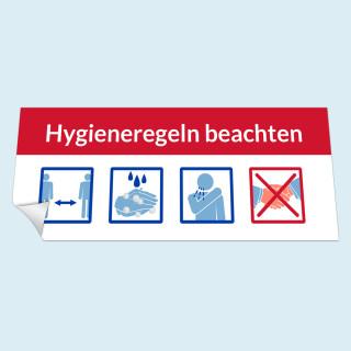 Aufkleber auf Glas, 40 x 16 cm - Hygieneregeln